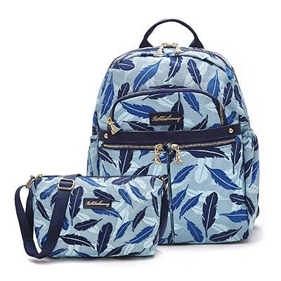 B.S.D.S冰山袋鼠-楓糖瑪芝x輕旅多口袋後背包+側背小包2件組-羽毛風