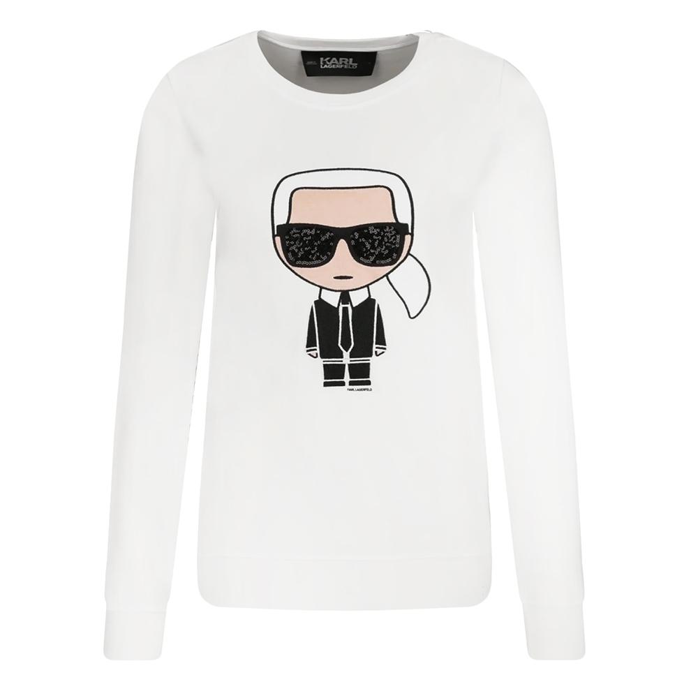 Karl Lagerfeld 亮片墨鏡老佛爺刺繡棉質長袖T恤/運動衫 (白色)