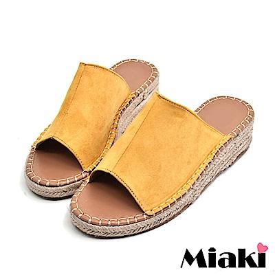 Miaki-楔型鞋南洋風編織露趾拖鞋-黃