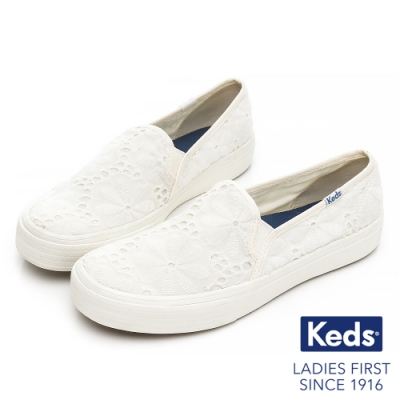 Keds DOUBLE DECKER 花型蕾絲休閒便鞋 - 白