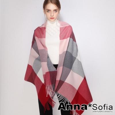 AnnaSofia 暖彩方格流蘇 仿羊絨大披肩圍巾(灰紅粉系)