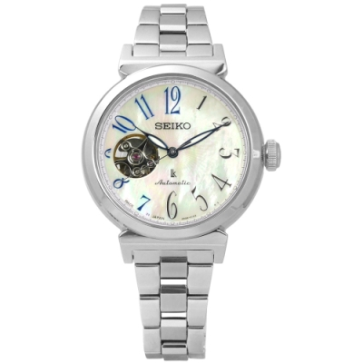 SEIKO 精工 LUKIA 珍珠母貝 藍寶石玻璃 不鏽鋼機械錶-銀色/34mm