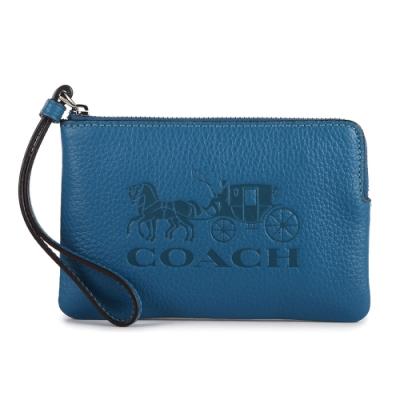 COACH 大馬車LOGO壓紋質感荔枝紋皮革L型拉鍊手拿包-藍色
