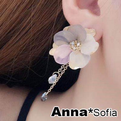 【3件5折】AnnaSofia 優雅氣質雙色花瓣 大型耳針耳環(金系)