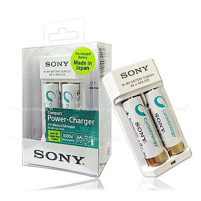 SONY USB輸入迷你低自放電池充電組 3號4號皆可充 (BCG-34HWU2K)