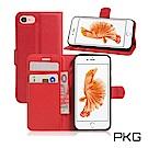 PKG Apple Iphone7/8 Plus 5.5吋側翻式-精選皮套-經典款式-紅