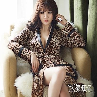 睡袍 美艷佳人性感豹紋睡袍 久慕雅黛
