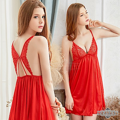 大尺碼 火紅蕾絲柔緞美背性感睡衣 紅 L-2L Annabery