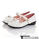 TOPUONE童鞋 傳統手工鞋廠蝴蝶結水鑽減壓公主皮鞋-白