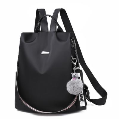 I.Dear-韓版時尚素面條紋背帶雙肩拉鍊防盜肩背後背包BG125(黑色)