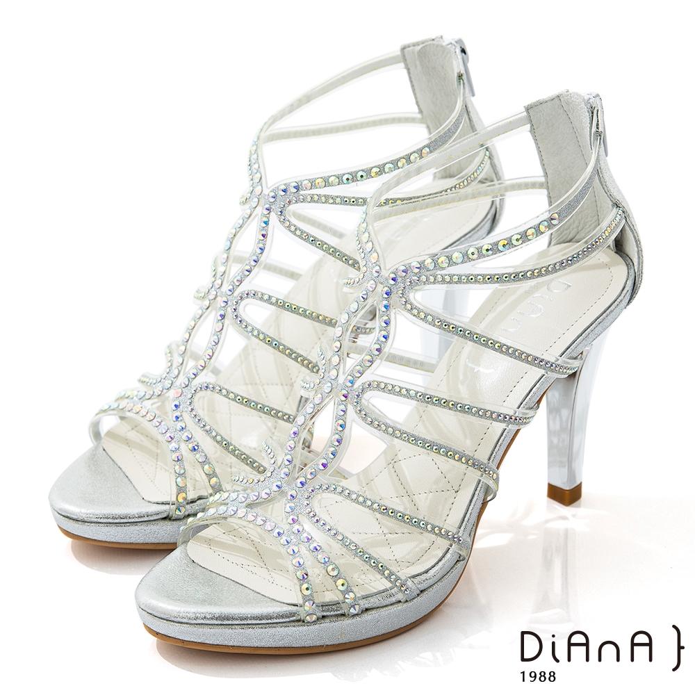 DIANA 10cm星光銀彩葛麗特環踝電鍍高跟涼鞋-浪漫戀曲-銀