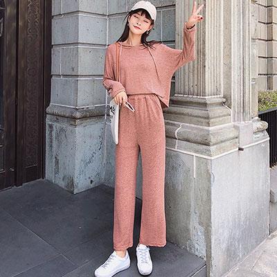 針織連帽上衣+九分針織闊腿褲兩件套 (共三色)-Kugi Girl