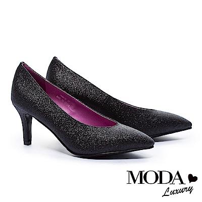 高跟鞋 MODA Luxury 摩登時髦奢華金蔥尖頭美型高跟鞋-黑