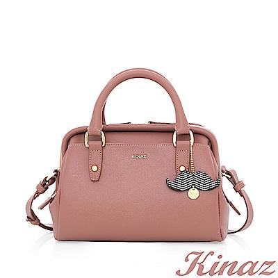KINAZ 詼諧調調兩用斜背醫生包-珍珠粉紅-鬍子先生系列