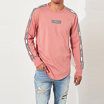 海鷗 Hollister 經典文字潮流設計長袖T恤-粉色