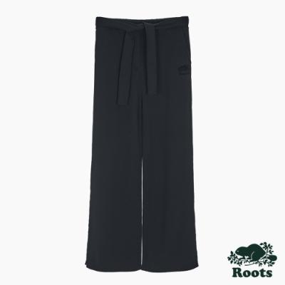 Roots女裝-椒鹽灰系列 海狸LOGO綁帶寬褲-黑色