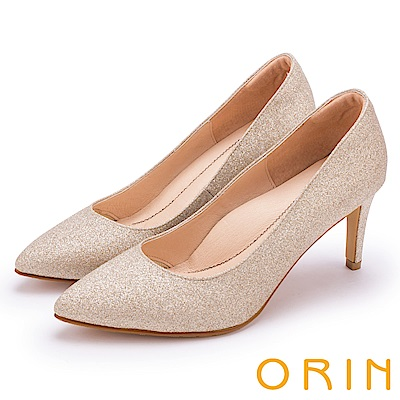 ORIN 晚宴婚嫁首選 璀璨鑽石光澤尖頭高跟鞋-膚色