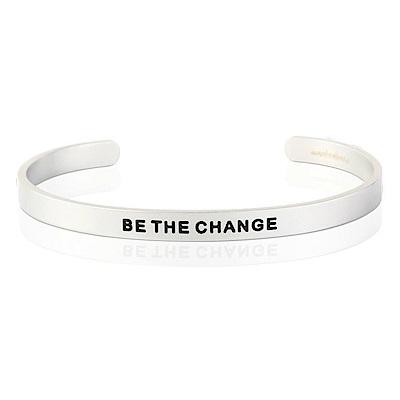 MANTRABAND Be The Change 成為更好的自己 悄悄話寬版銀色手環