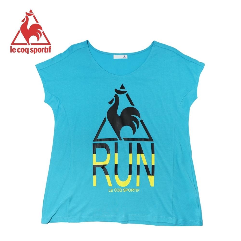le coq sportif法國公雞牌螢光LOGO印花寬鬆版飛飛袖短袖T恤 女-寶藍