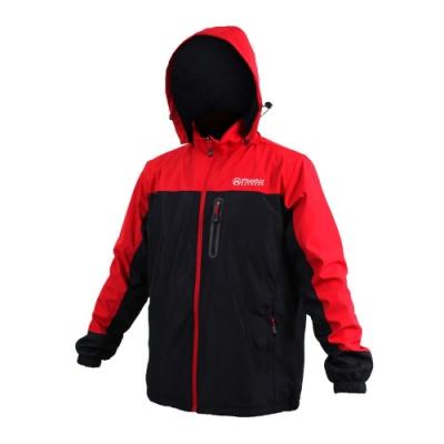 FIRESTAR 男拆帽風衣外套-防風 防潑水 保暖 刷毛 立領 連帽 黑紅