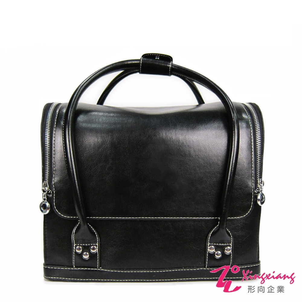 Xingxiang形向 黑色皮革素面手提肩背化妝箱 6K-12-1