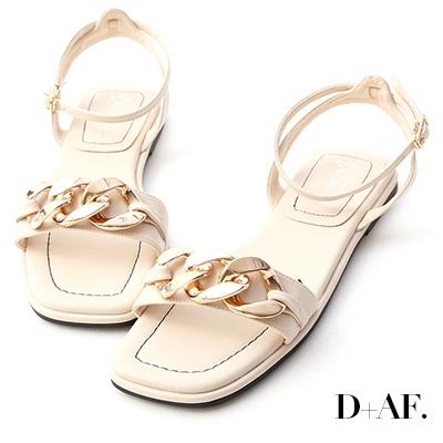 D+AF 輕奢品味.金屬環釦一字平底涼鞋*米白