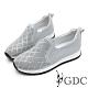 GDC-真皮水鑽超舒適軟底菱格厚底休閒鞋-淺藍色 product thumbnail 1