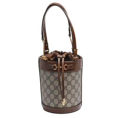 GUCCI 經典Horsebit 1955系列Supreme帆布皮革飾邊束口圓筒手提包(小)