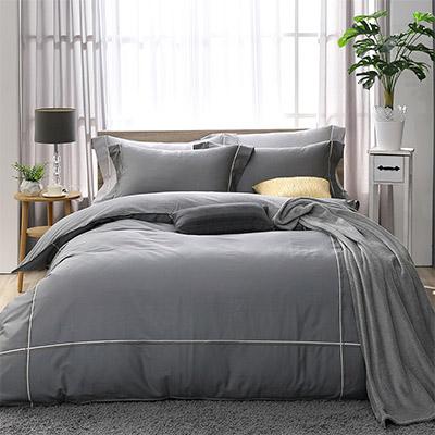 LASOL睡眠屋-300織雙色刺繡設計款精梳棉 特大兩用被床包四件組 奧丁灰