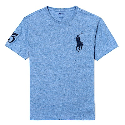 Polo Rlaph Lauren 年度熱銷電繡大馬圓領素面短袖T恤-麻花藍色