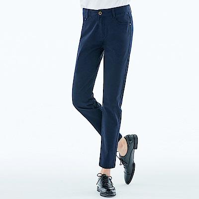 101原創 棉彈細緻斜紋窄管褲-女-深邃藍