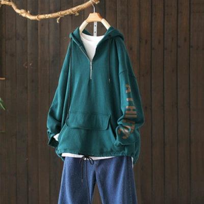 純棉半開襟字母印花抽繩連帽衛衣寬鬆上衣-設計所在