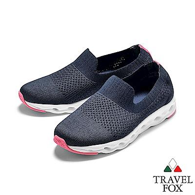 TRAVEL FOX(女)  襪套式針織鞋面魚腮大底運動休閒鞋 - 多莉藍