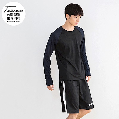 台灣品質.世界同布~反光印字撞色袖吸濕排汗上衣-OB大尺碼