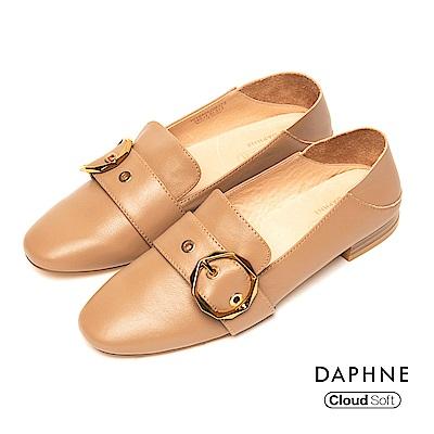 達芙妮DAPHNE 平底鞋-真皮幾何皮釦復古低跟平底鞋-駝
