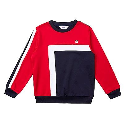FILA KIDS 童吸濕排汗針織刷毛上衣-紅 1TES-8407-RD