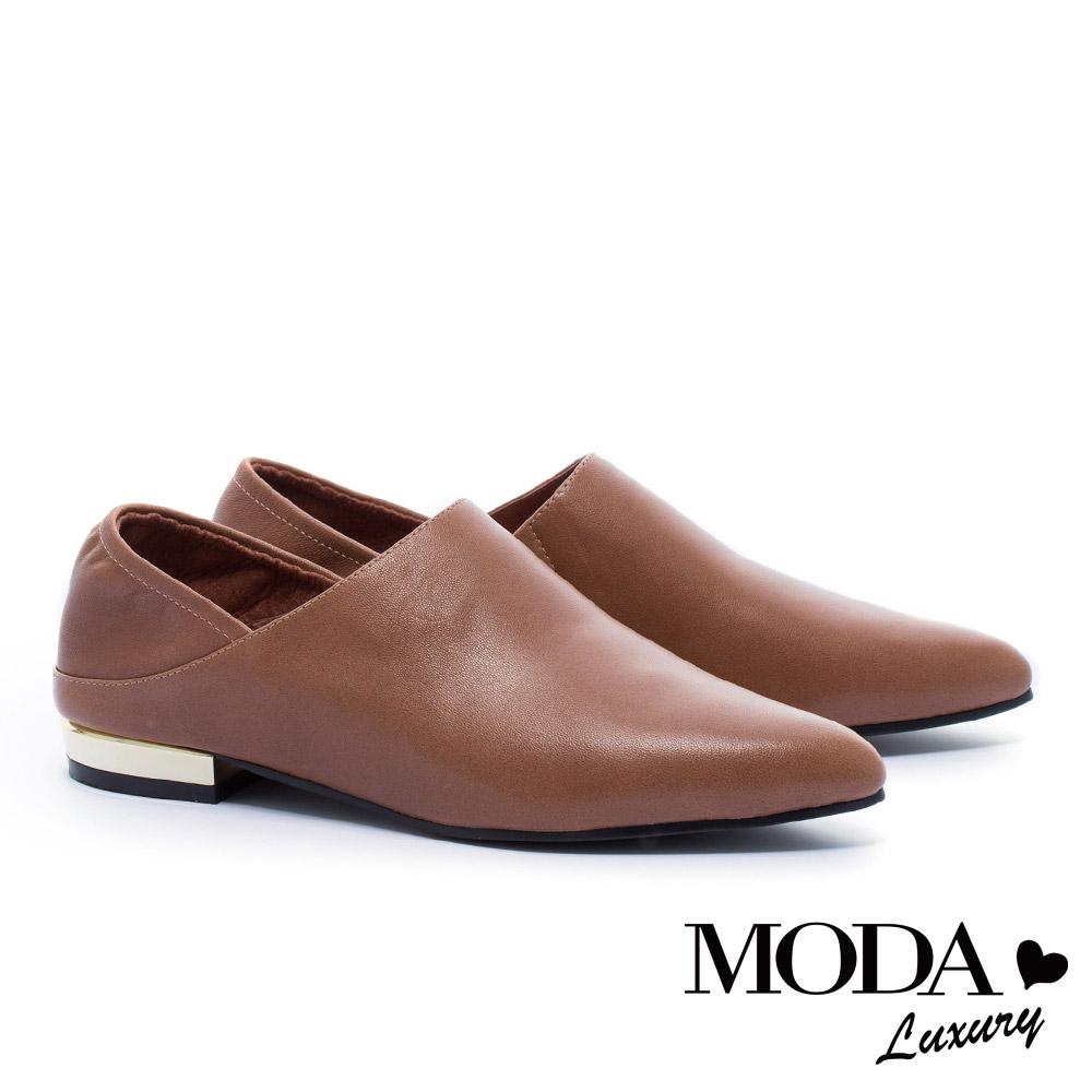 低跟鞋 MODA Luxury 極簡主義超柔軟後踩式全真皮尖頭低跟鞋-咖