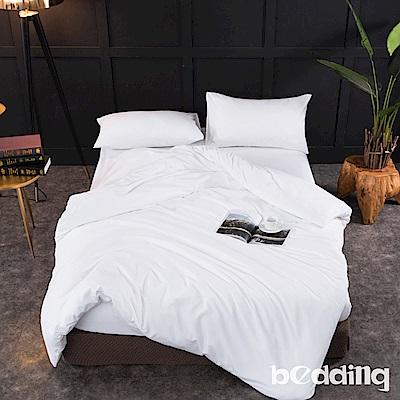 BEDDING-活性印染日式簡約純色系特大雙人薄式床包枕套三件組-雪白色