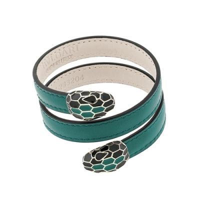 BVLGARI 寶格麗 Serpenti Forever 琺瑯雙蛇頭祖母綠雙繞式手環