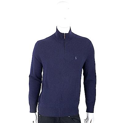 Ralph Lauren 小馬刺繡深藍色拉鍊開襟羊毛衫