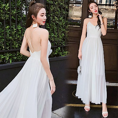 DABI 韓國風高腰度假裙旅拍輕婚紗長裙無袖洋裝
