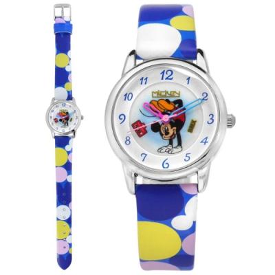 Disney 迪士尼 米奇系列 造型面板 日本機芯 兒童卡通錶 皮革手錶-銀x藍/28mm