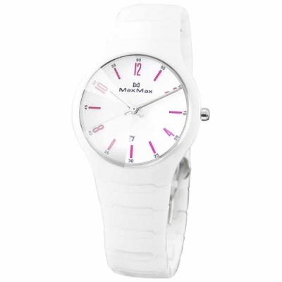 Max Max 淘色魅力陶瓷腕錶-白桃紫-MA2S5091-W2-35mm