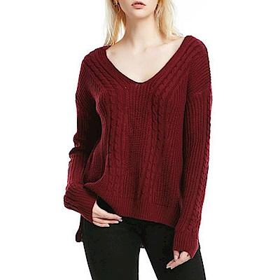 La Belleza雙V領背後交叉側開叉麻花針織毛衣
