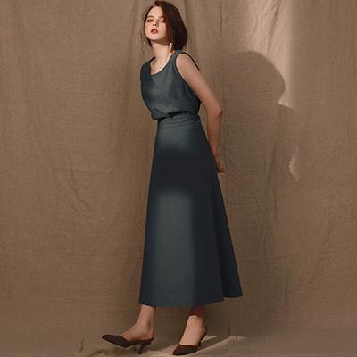 AIR SPACE LADY 清新棉麻感兩件式背心套裝(綠)