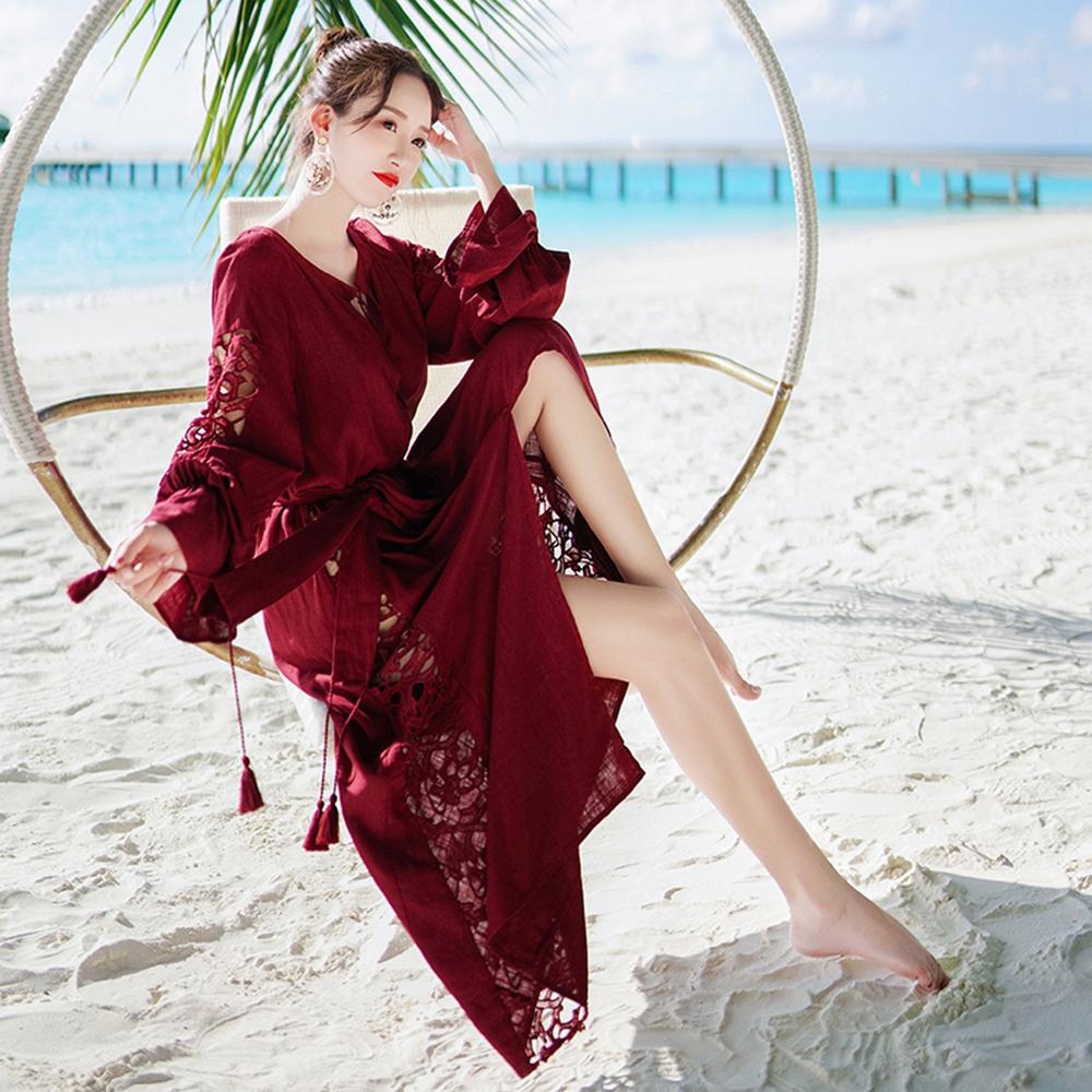性感鏤空流蘇抽繩設計款罩衫洋裝S-XL維拉森林
