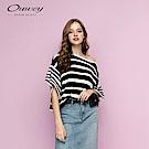 OUWEY歐薇 組織條紋針織上衣(黑)