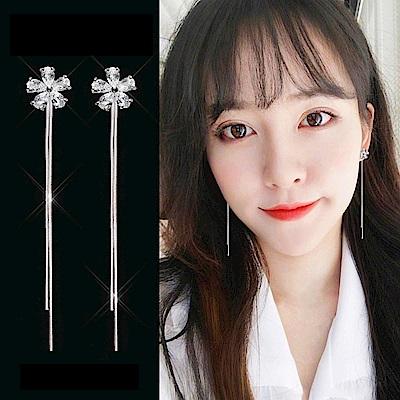 梨花HaNA 韓國S925銀針輕奢超優雅鋯鑽花卉流蘇耳環