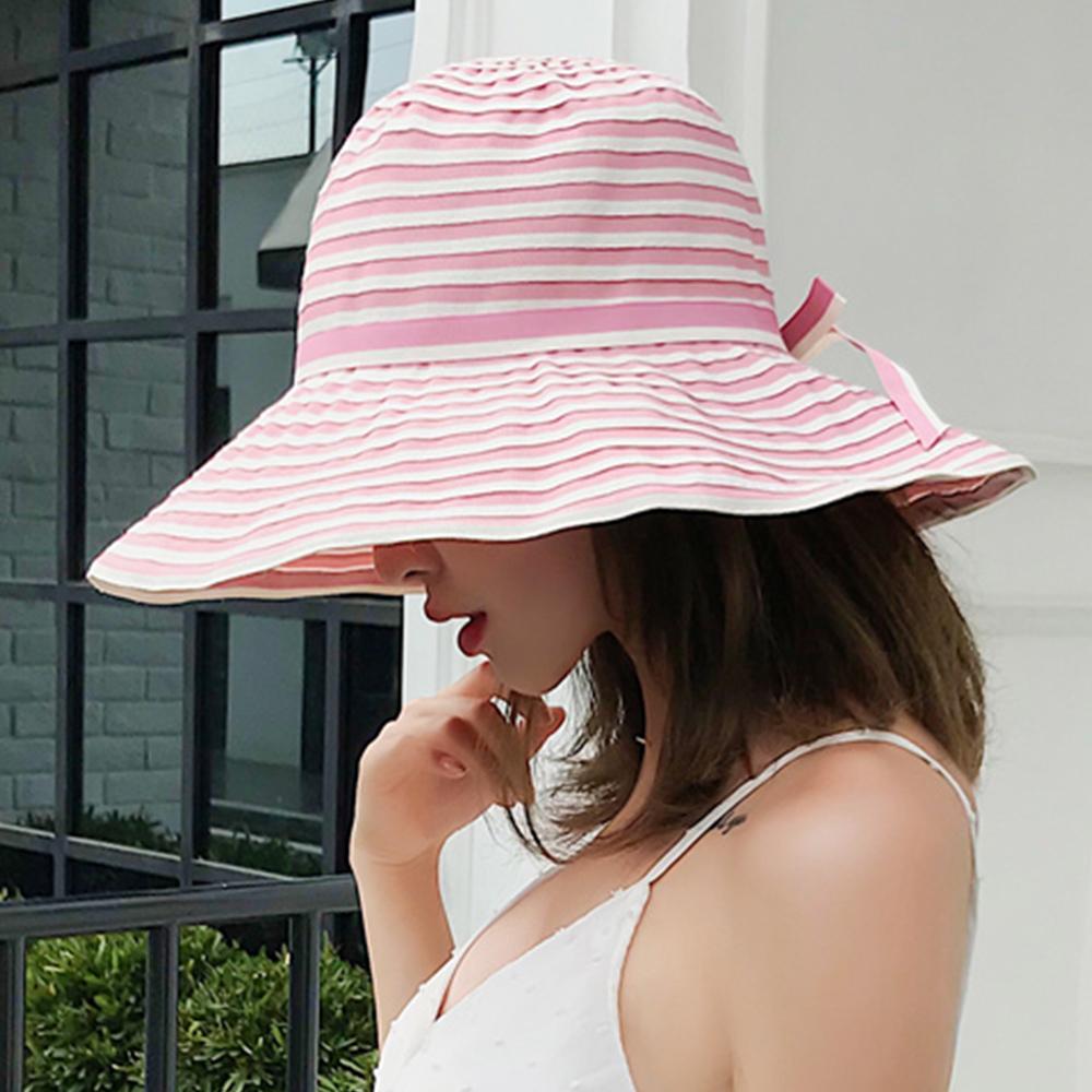 幸福揚邑 夏日浪漫條紋大帽檐抗UV防紫外線可摺疊遮陽帽-粉