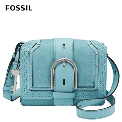 FOSSIL Wiley 真皮復古美型側背包-土耳其藍色 ZB1520441